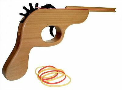 Wooden Rubber Band Gun Original Shooter & Rubber Bands Office Toy Retro Fun