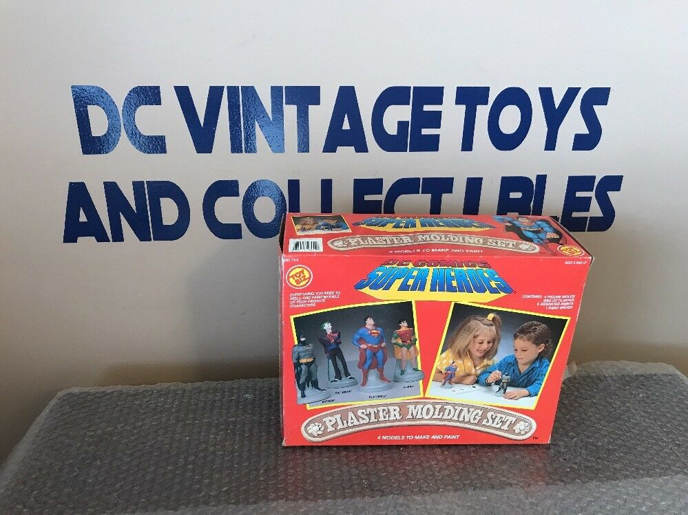 Vintage 1989 Toy Biz DC Super Heroes Plaster Modeling Set Batman Superman Robin