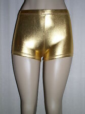 NEW Sexy SHINY GOLD Faux Leather METALLIC Made in USA Derby BOOTY SHORTS - M 4 6