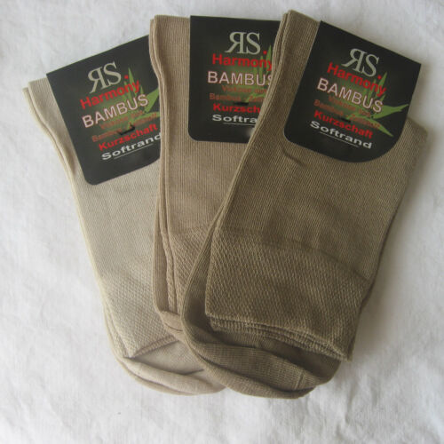 3 Pair Women's short Shaft Bamboo Socks without Elastic Soft Rim 3 Naturals