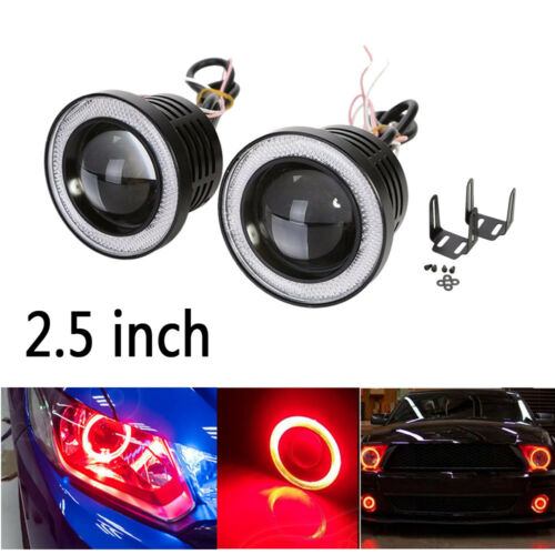Universal 2.5INCH Led Fog Light Projector COB w// Red Angel Eyes Halo Ring 12V