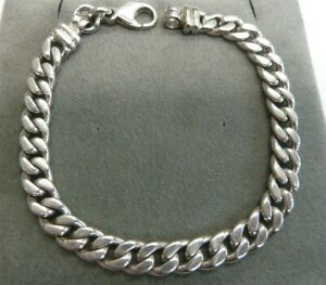 Details About 9ct Solid White Gold Curb Bracelet 23 4 Grams Fully Hallmarked Las