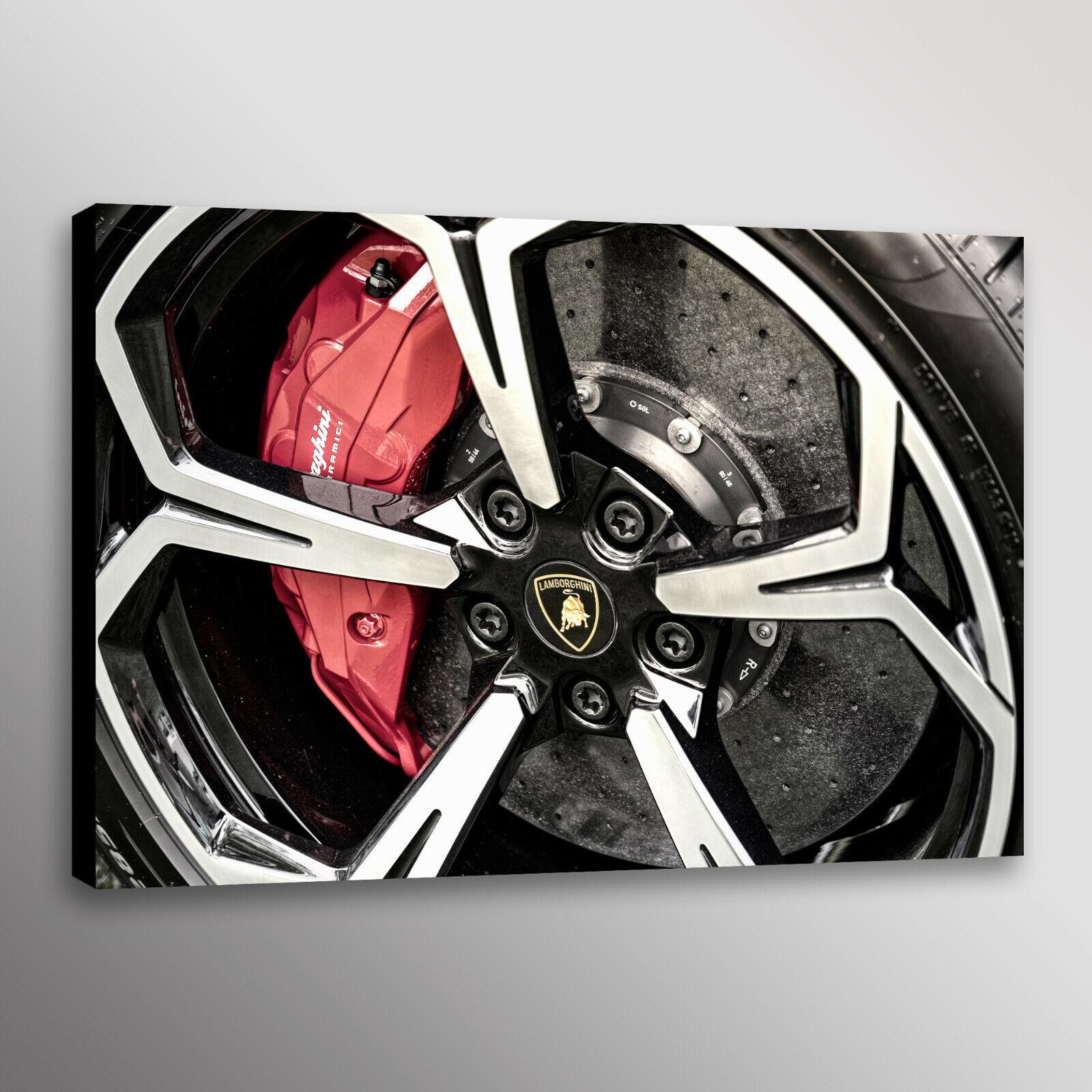 Lamborghini Wheel Brakes Racecar Automotive Car Photo Wand Kunst Canvas Drucken