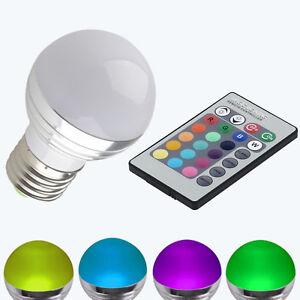 3w e27 rgb led birne farbwechsel lampe licht energiesparen mit fernbedienung ebay. Black Bedroom Furniture Sets. Home Design Ideas