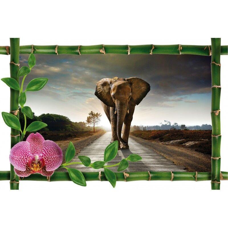 Aufkleber Bambus Deko Elefant 978