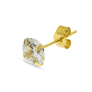 5f8f6549aff82 Details about 9CT GOLD SINGLE EARRING MENS CZ STUD GENTS 5MM ROUND CLEAR  CUBIC ZIRCONIA SIZES