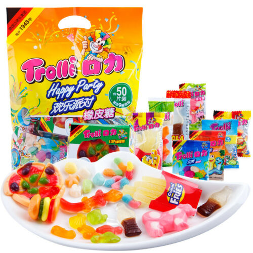 Sweet Happy Party Burger Gummy Candy Snacks Trolli零食小吃软糖水果QQ糖9种 口力欢乐派对橡皮糖500g//袋