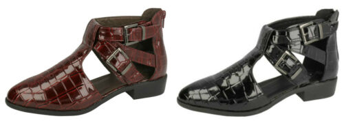 Burgundy/&Black! Ladies Synthetic Patent Strappy Shoe Boots 2 Colours F9763