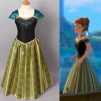Girls Dress Disney Frozen Anna Princess Party Birthday Dressing-Up Fancy Costume
