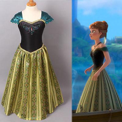 FROZEN Girls Princess ANNA Dress Queen Cosplay Costume Grils Fancy Dress/&Crown