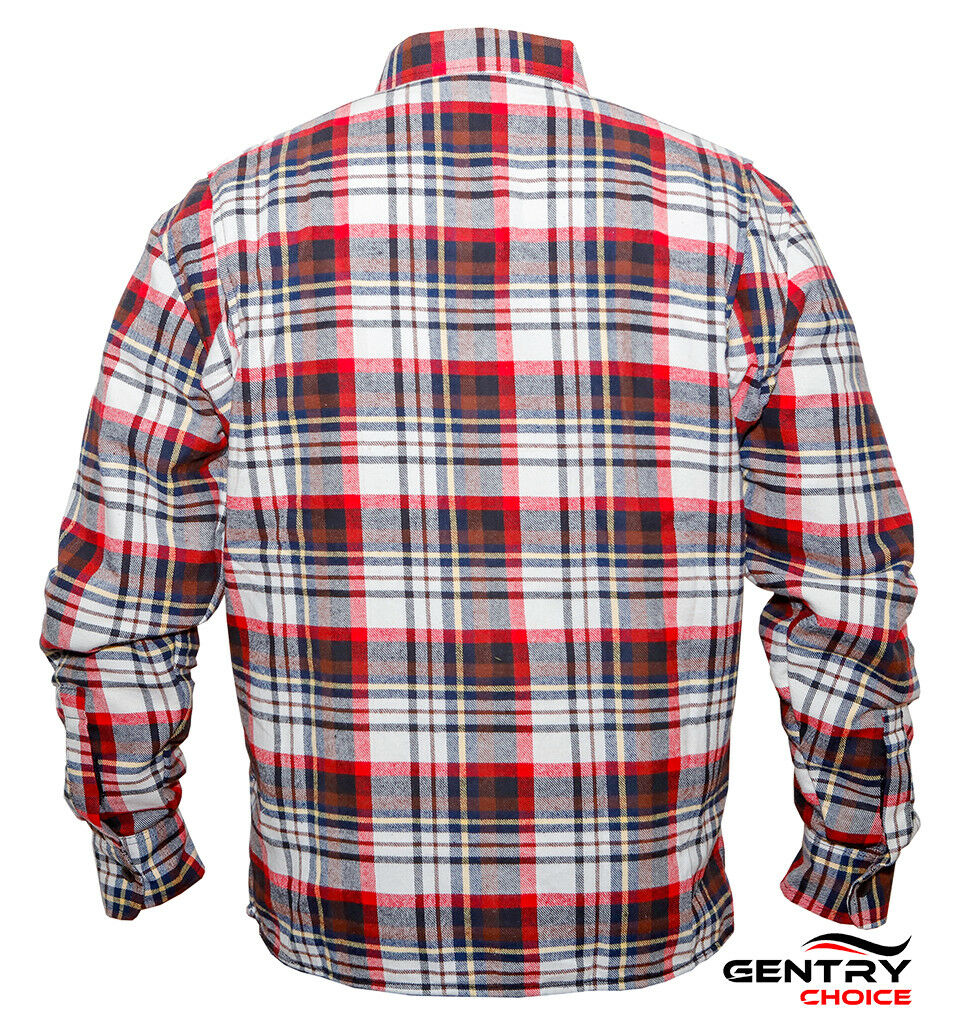 c22a5859 Details about Motorcycle Riding Flannel Long Sleeve Reinforced Biker Men  Shirt Black Red