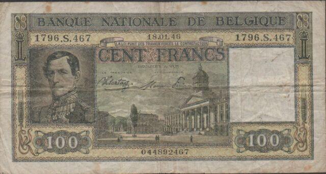 Belgium , 100 Francs , 18.01.1946 , P 126 , series S. 467 Circulated Banknote