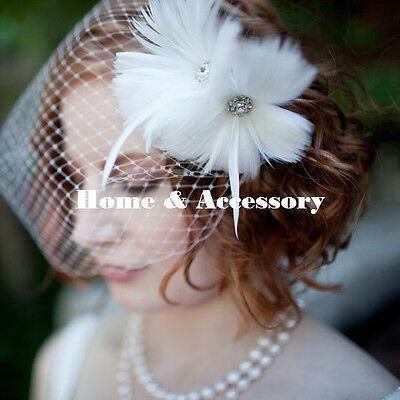 Feather Flower Bridal Wedding Birdcage Blusher Face Veil Headpiece