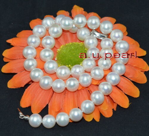 """AAAAA 18/""""10-11mm perfect round REAL natural south sea white pearl necklace 14K"""