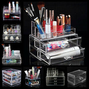 Acrylic-Clear-Cosmetic-Make-Up-Case-Lipstick-Liner-Brush-Holder-Organizer-Drawer