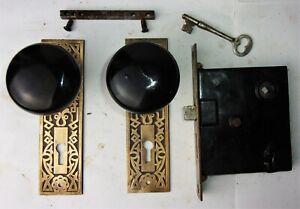 Antique-Set-EASTLAKE-Backplates-Black-Porcelain-Door-Knobs-Mortise-Lock-w-Key