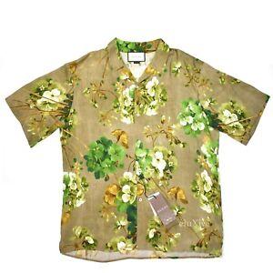 706d11674 NWT $960 GUCCI Mens Beige Blooms Floral Print Viscose Hawaiian Shirt ...