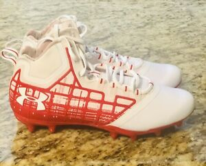 UNDER-ARMOUR-Banshee-Mid-MC-Lacrosse-Football-Cleats-1297351-161-Red-Size-9New