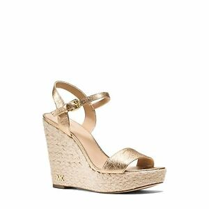 bf1f289872d Michael Michael Kors Jill Metallic Wedge Pale Gold Leather Strappy ...