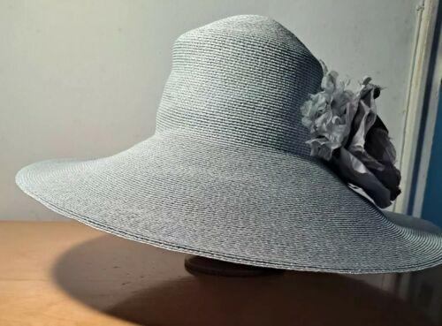 Vtg Patricia Underwood Pale Aqua Straw Hat/Gray S… - image 1