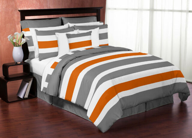 Sweet Jojo Designs Modern Gray Orange Kid Twin Bedding Set For Teen Boys  Bedroom