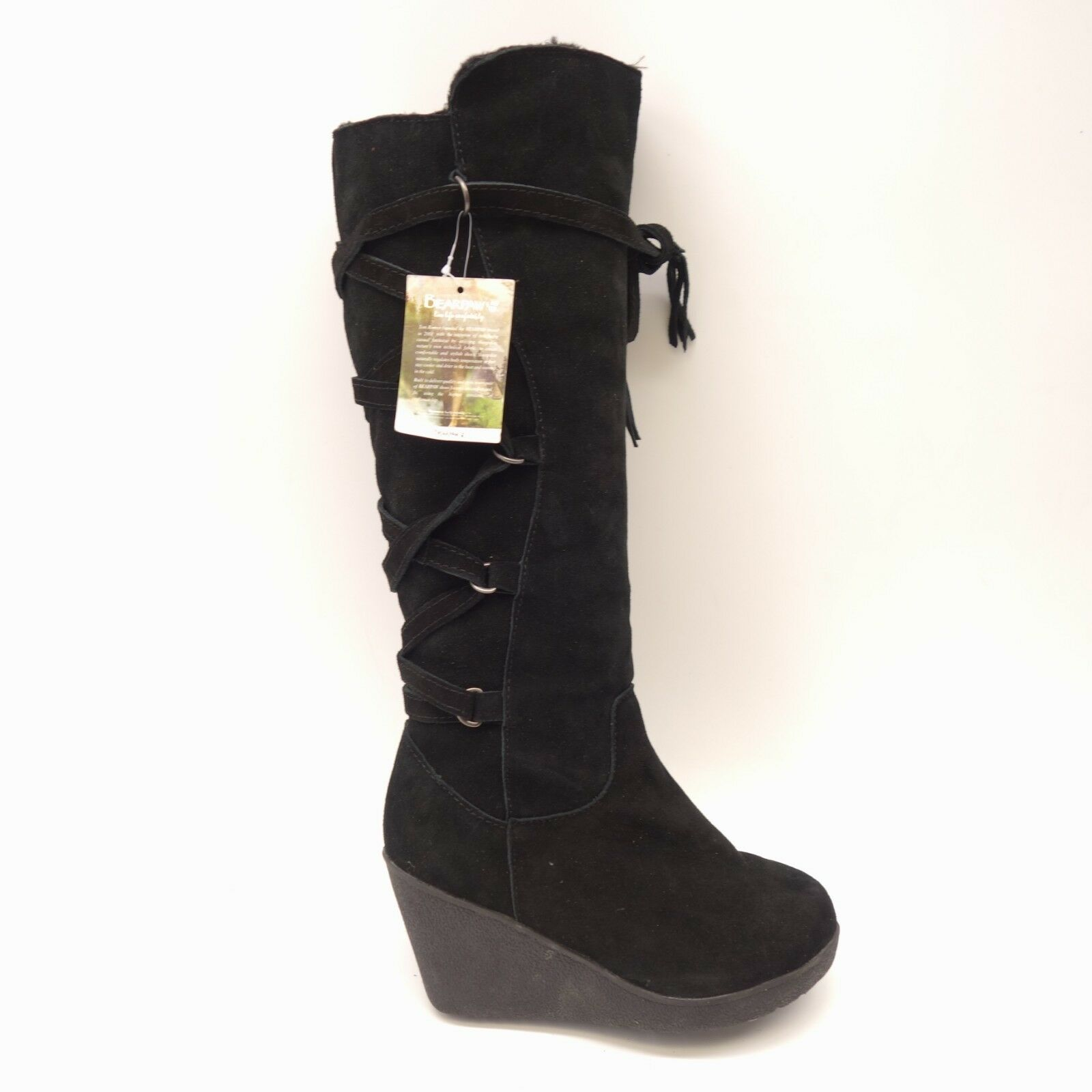 New BearPaw Womens Britney Black Suede Knee-High Wedge Boots Size 7