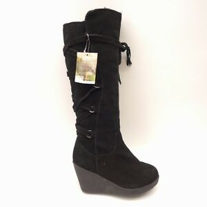 e8242f87b22 New BearPaw Womens Britney Black Suede Knee-High Wedge Boots Size 7 ...