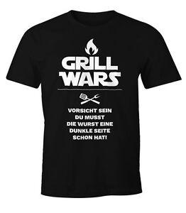 Herren-T-Shirt-Grill-Wars-mit-Spruch-Fun-Shirt-Moonworks