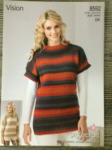 "Ladies and Mens Sweater and Cardigan Kniting Pattern in DK Easy Knit 28-46/"" 882"