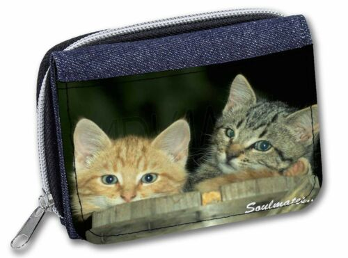 'Soulmates' Kittens in Beer Barrel GirlsLadies Denim Purse Wallet Ch, SOUL14JW