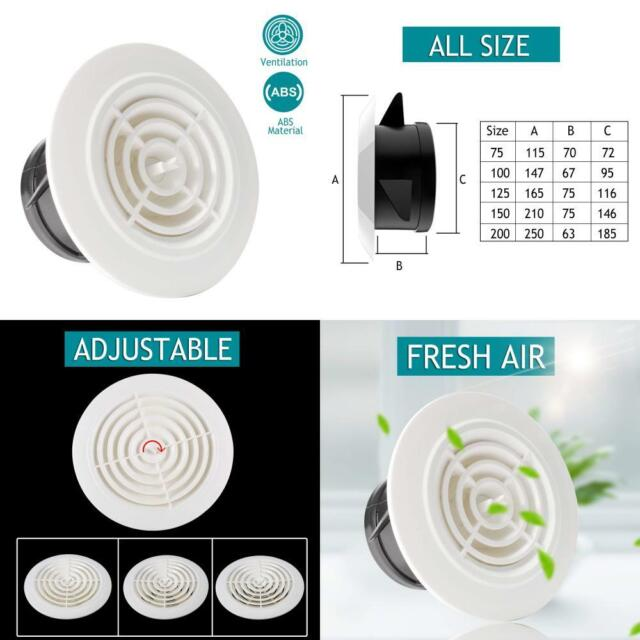 HG POWER 3 Inch Round Air Vent ABS Louver White Grille Cover Adjustable Exhaust