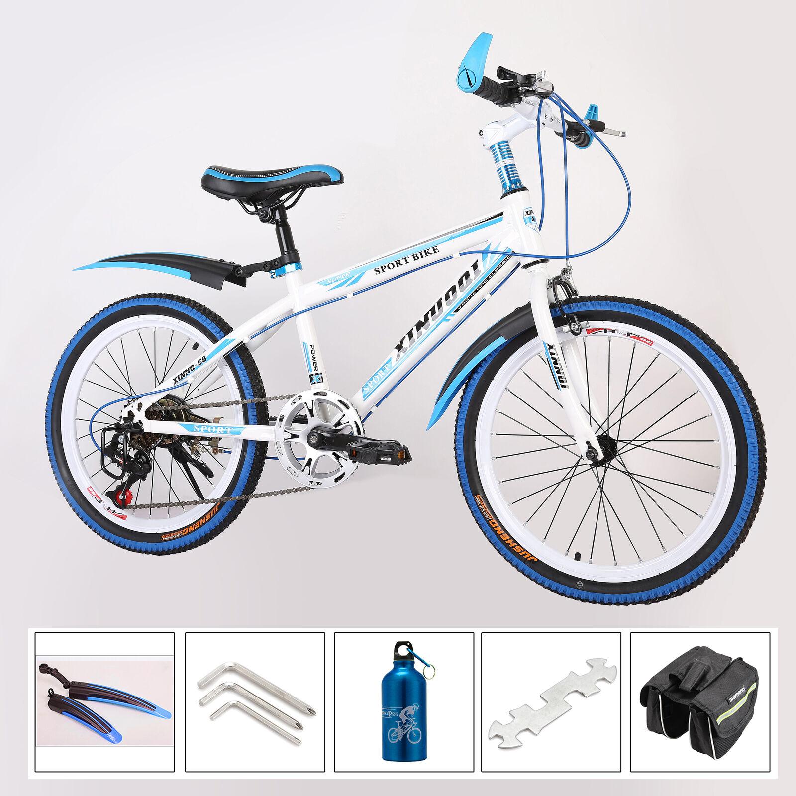 Popular 20  Kids Mountain Bike ,7 Speed MTB Front V-brakes Rear Disc Brakebluee