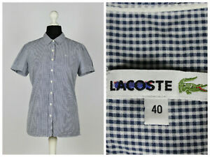 Womens-Lacoste-Shirt-Short-Sleeve-Top-Check-Blue-Size-40-Cotton