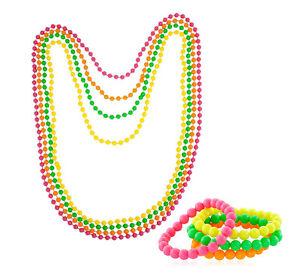 Neon-Beads-Necklace-Bracelet-80s-Costume-Accessory-Bright-Rave-Fancy-Dress