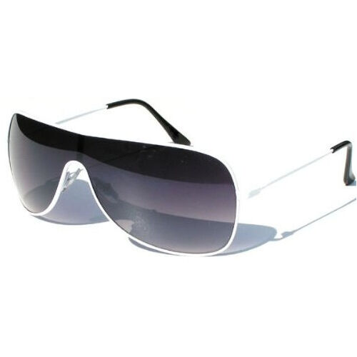 Brilliant White Visor Wrap Around Ski Style Sunglasses with Black Smoked Lenses