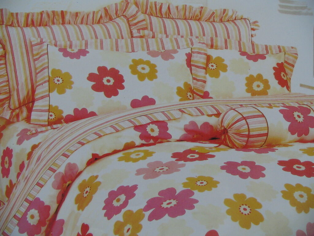 Cotton Full Size 7PC Red& Pink Floral Comforter Cover Bedding Set orange