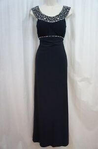 bb0c69775b89 Betsy & Adam Dress Sz 4 Navy Blue Sequined Sleeveless Formal Evening ...