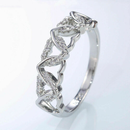 Fashion 2020 Silver Filled Women Wedding Rings Engagement Jewelry Ring Size 6-10