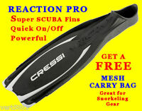 Cressi Reaction Pro Full Foot Fins Flippers Snorkel Scuba Heel Power Fin Dive