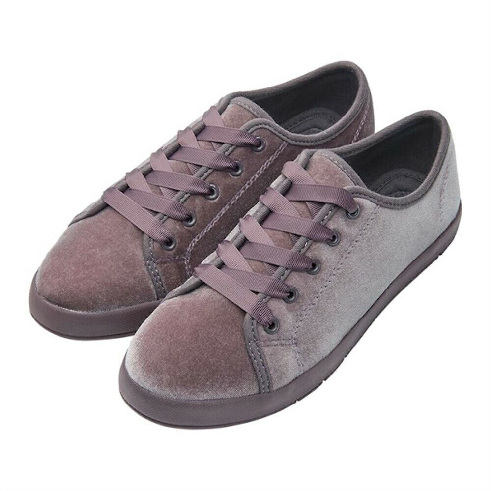 Avon Leya Velour Trainers Size 5 new in pack Dusky purple colour ribbon laces