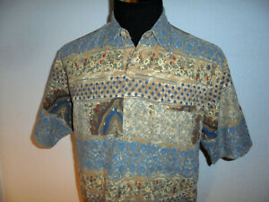 vintage-TROMMLER-Hemd-crazy-pattern-90er-Viskose-Freizeithemd-90s-gemustert-L