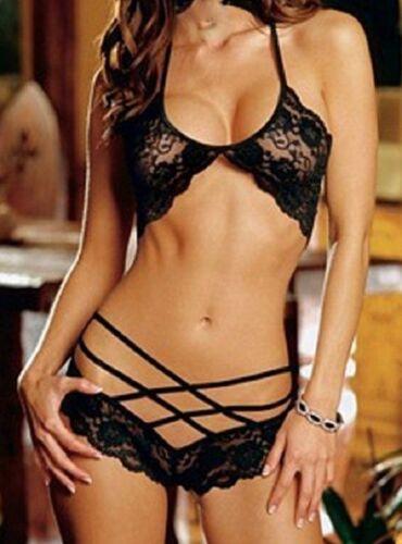 Details about  /2pc G-String Halter Black Lace /& Strap Lingerie Large Size Women