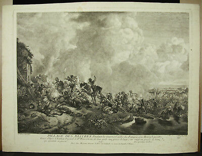 Jean Moyreau (1690-1762) Pillage Des Reitres 1740 Wouwermans Cavalerie Allemande