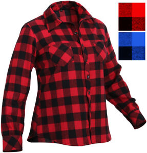 Women s Plaid Flannel Shirt Buffalo Check Pattern Lumberjack Classic ... b4580e420d24