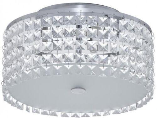 3-Light White Flush Mount Ceiling Fixture Crystal Glass Beads Shade 40W Bulbs