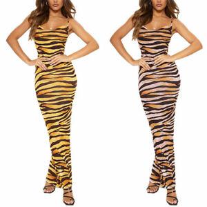 Damen Leopard Stretch Kleid Bodycon Abendkleid ...
