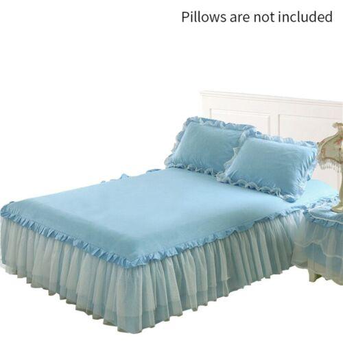 1 Pc Bed Skirt Elegant Lace Design Bed Valance Elastic Band Design Bedspreads