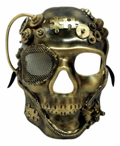 Steampunk Skull Brushed Gold Halloween Masquerade Mask