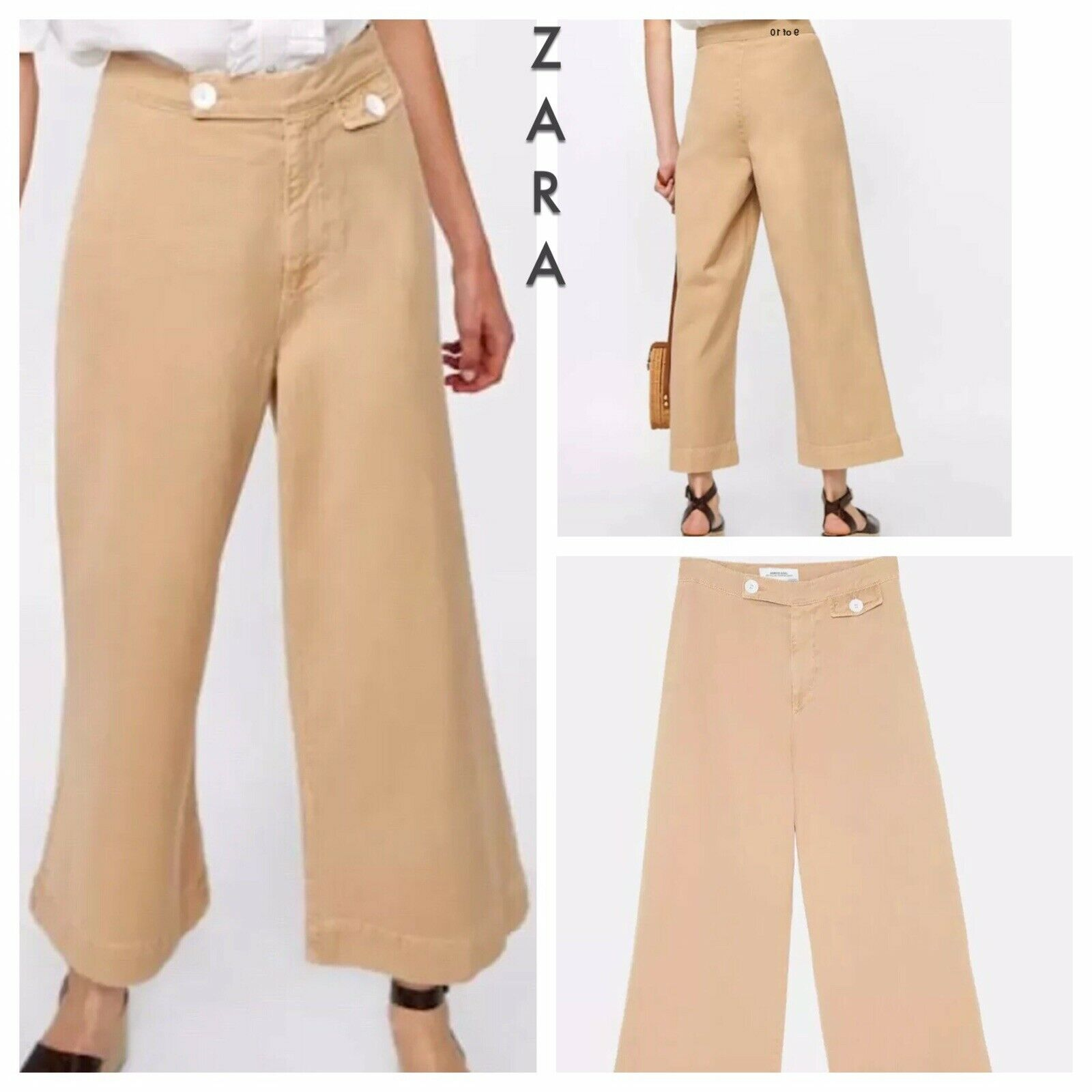 Zara NWT  Jean Marine Denim Culotte Wide Leg Crop Jeans Trousers Pants Size 4