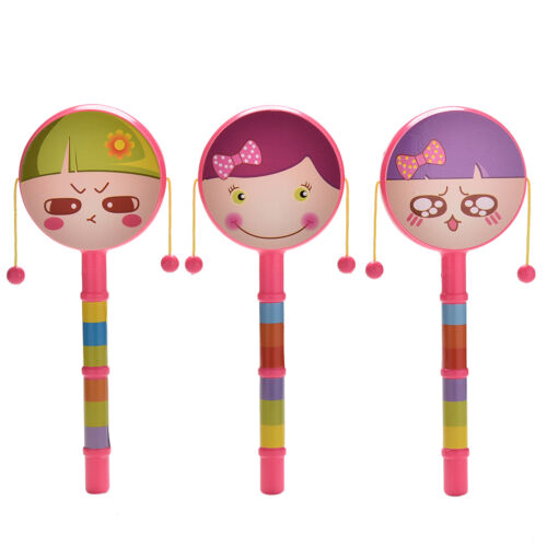1X Rattle Drum Smile Baby Kid Percussion Educational Musical Instrument Toy HD
